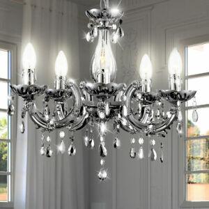 Détails sur Lustre Suspendu Lampe Plafonnier Salle à Manger Luminaire  Argent Grand Lumière