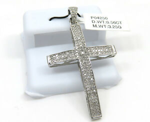 0-56ct-Mens-10k-White-Gold-Round-Diamond-Pave-Curved-Cross-Pendant