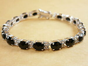 925-Sterling-Silver-Bracelet-White-Gold-Plated-Black-Onyx-White-CZ-Gemstones-7-034
