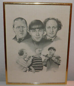 THE-THREE-STOOGES-PRINT-LITHO-BY-TILLMAN-AKA-GLEN-BANSE-COLLECTORS-Priced-2-Sell