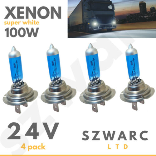 H7 24v 100w Headlight Bulbs Dipped Main Beam 499 Lorry Truck Hgv Xenon White