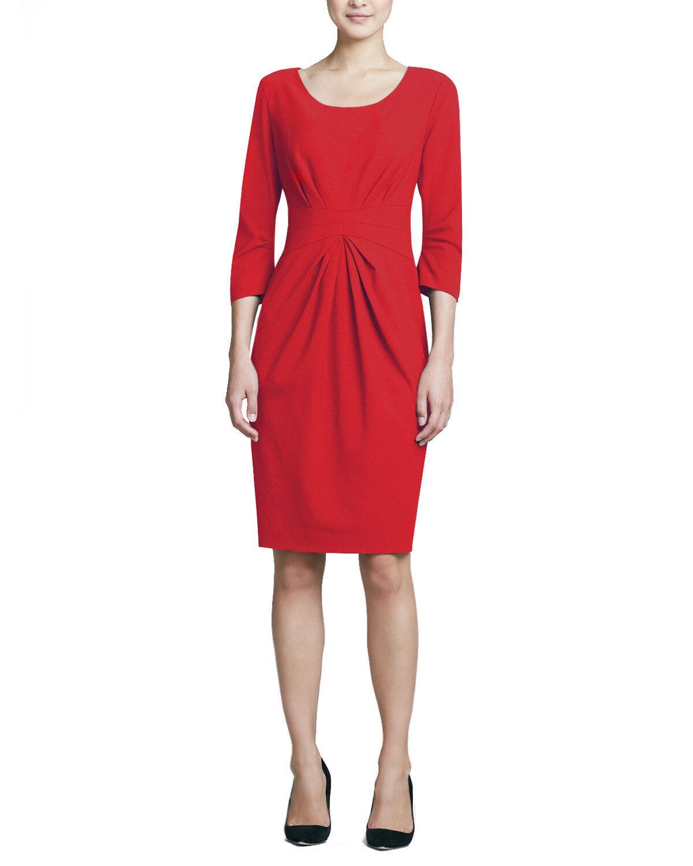 e05236225b10 New MSRP Lafayette148 3 4-Sleeve Center-Pleat Wool Dress Pink pink Sz M