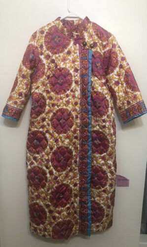 Vintage Sears Quilted Floral Snap Front House Coat