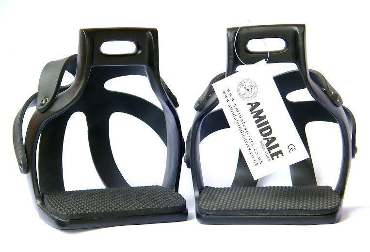 Amidale aluminium Endurance Flex ride à cage sécurité cheval étriers black 12.1cm