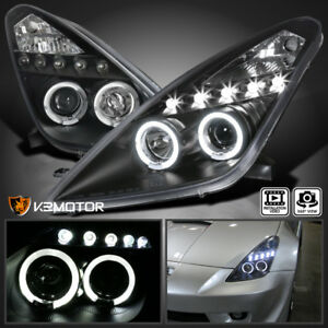 For 2000-2005 Toyota Celica LED Halo Projector Headlights [JDM Black] Left+Right 684758609397