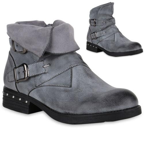 893755 Coole Damen Biker Boots Leicht Gefütterte Stiefeletten Schnallen Trendy