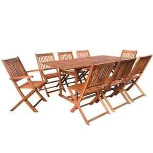 Détails sur vidaXL Bois Acacia Massif Mobilier Jardin 9 pcs Terrasse Patio  Salon de Jardin