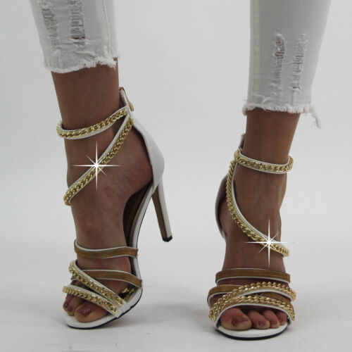 New Ladies Women/'s High Stiletto Heel Peep Toe Ankle Strappy Party Sandals Shoes
