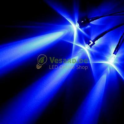 5 verkabelte LEDs 5mm Blau 12000mcd LED verkabelt für 3V - 24V Möbel PC Kfz Auto