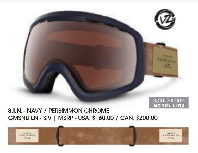 NEW VonZipper Feenom NLS SIN Navy Mirror Mens  Snowboard Goggles +lens Ret 160  sale online save 70%