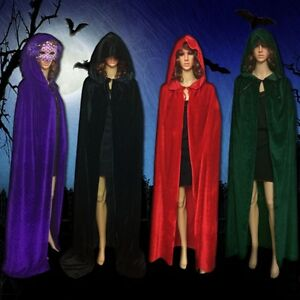 Velvet Hooded Cloak Wicca Robe Medieval Witchcraft Larp Cape Halloween USA Ship