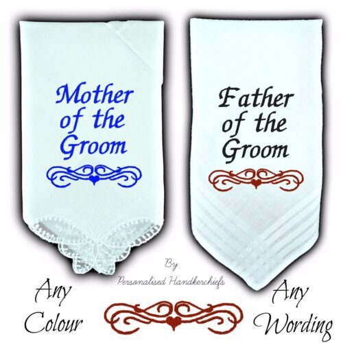 MOTHER OF THE GROOM GIFT PERSONALISED HANDKERCHIEF FATHER WEDDING BUTTERFLY