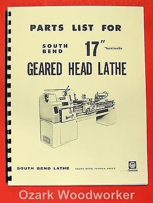 """Cnc, Metalworking & Manufacturing Candid South Bend 17"""" Turn-nado Gear Head Lathe Parts Manual 0670"""