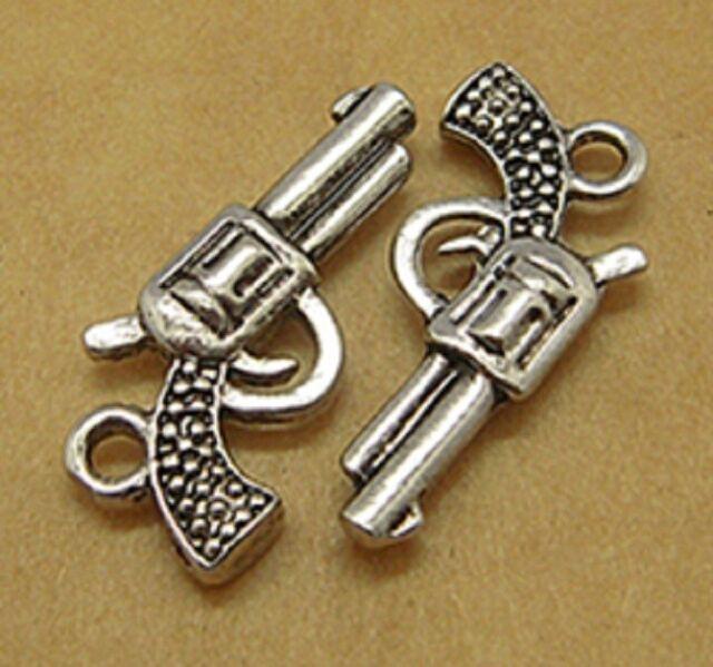 20 Antique Silver Gun Charms Pendants - Pistol Cowboy Revolvers - 22mm x 12mm