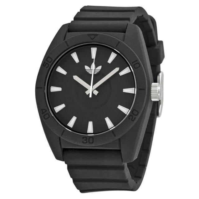 Adidas Santiago Black Dial Black Silicone Strap Mens Watch ADH2922
