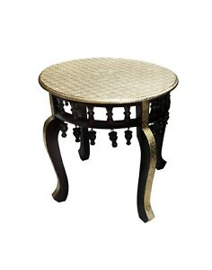 Wood-Table-Stool-Bench-Unique-Hand-Crafted-Brass-Polished-Home-Decor-Indian-Art