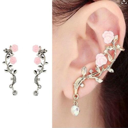 Fashion Lady Gold Rose Leaf Flower Crystal Ear Stud Cuff Earring Women Jewelry