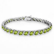 Natural Peridot Tennis Bracelet 18.9 Ct With White Topaz Accents in 925 SS 19cm