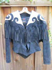 Vintage 80s Climax Karen Okada Black & White Suede Leather Fringe Jacket 7/8