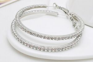 1-Pair-Silvertone-Pierced-Rhinestone-Hoop-Earrings-35mm-Small-to-75mm-2XL