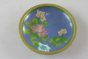 VINTAGE-CHINESE-CLOISONNE-FLORAL-MOTIF-SMALL-BLUE-DISH