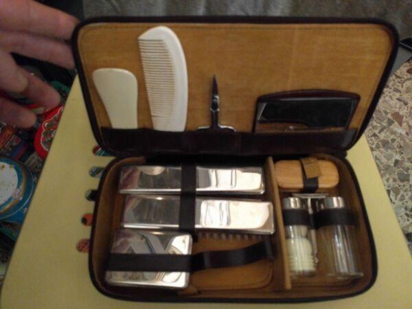 Originale * Set Da Toilette Beauty Case Per Uomo Da Viaggio * Vintage Prima Qualità