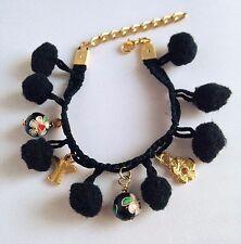 Lovely Handmade Funky Black Pom Pom + Gold Plated Angel & Flower Charms Bracelet