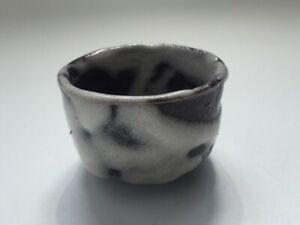 Japanese-Pottery-Sake-Cup-Guinomi-Vtg-Shino-Ware-Gray-Liquor-Yakimono-q024
