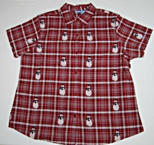 Size 2X NWT Holiday Plaid Snowman Shirt