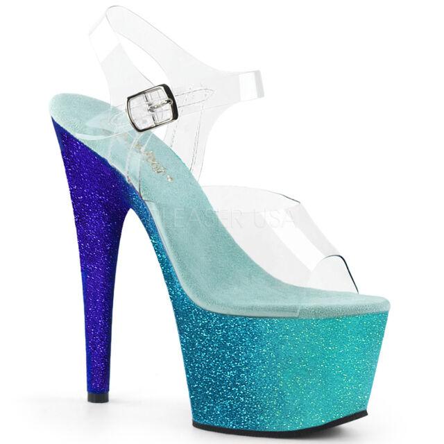 "7/"" Blue Rainbow Mermaid Platform Stripper Adore-708Ombre Pleaser Shoes Heels"