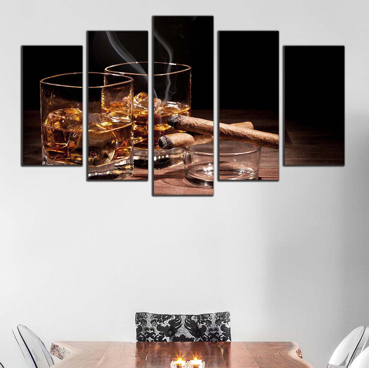 Wall art decoration set of 5 Picture whisky and cigars Canvas   PVC Größe S L