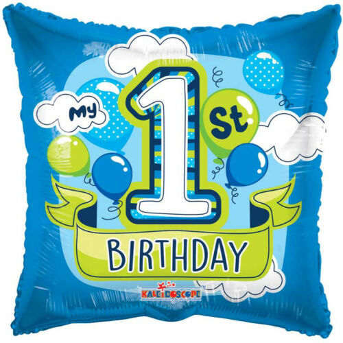 """18/"""" 1ST AGE 1 ONE FIRST HELIUM FOIL BALLOON BIRTHDAY PARTY BLUE BOY apac 15043"""