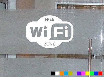 FREE WIFI STICKER DOOR WINDOW INTERNET CAFE BAR PUB OFFICE ZONE FUNNY DECAL