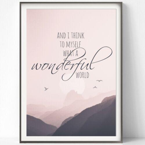 Druck FINE ART  Bild Poster Print Kunstdruck WHAT A WONDERFUL WORLD