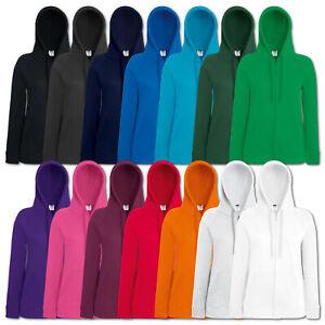 Details zu Fruit of the Loom Damen Sweatshirt Lady Fit Lightweight Hooded Sweat Jacket Neu