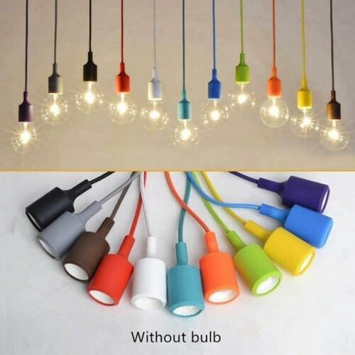 New Color Silicone Ceiling Rope Cord Pendant Lamp Holder Light Bulb Socket