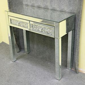 Details About Vintage Dressing Table 2 Drawer Makeup Mirrored Silver Glass  Drawer Desk Bedroom