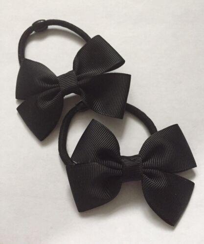 2 Packs Of Double Ribbon Black Hair Bow Bobbles//hair Accessorise//School Uniform