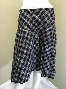 8a8e6faa86 Allison Taylor Women's Black & White Plaid Skirt W/ Fringed Hem ...