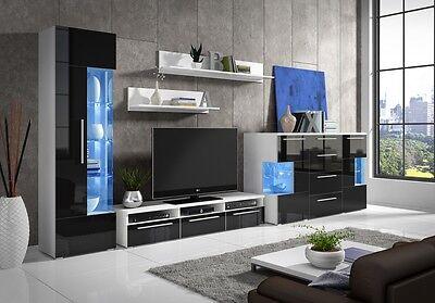 Schon Moderne Wohnwand Hochglanz Schwarz Roma Plus Mit Kommode U. LED 5 Teilig NEU