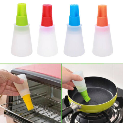 Silicone Honey Oil Bottle with Brush for Barbecue Cooking Baking Pancake BBQ