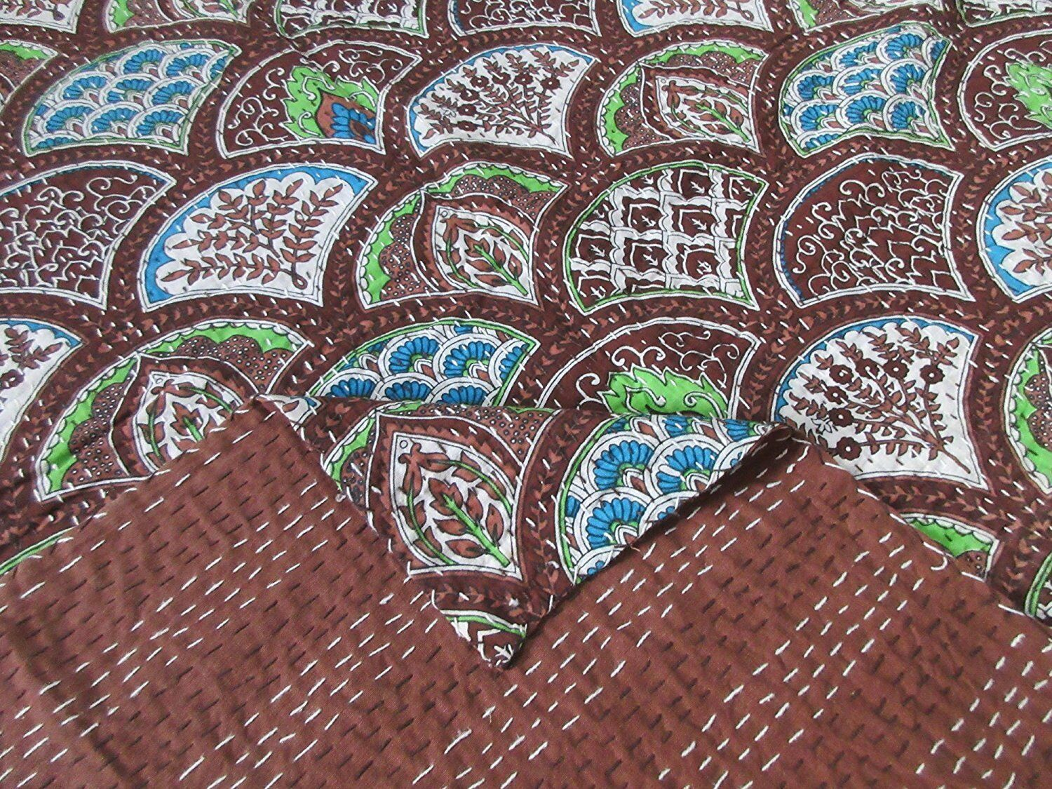 Vintage Ralli Kantha Quilt Bedspread Indian Handmade Cotton Blanket Queen