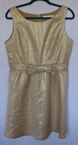 LC-Lauren-Conrad-Lined-dress-Size-12-Sleeveless-Belted-Back-Zip-Metalic-Thread