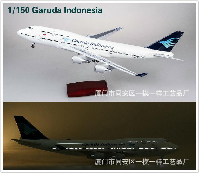 1 150 Garuda Indonesia Airplane LED Voice Lamp 47cm Resin Passanger Plane B747