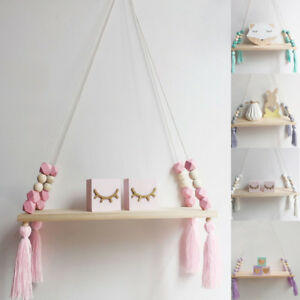 Details About Us Wooden Nordic Hanging Tel Bead Storage Wall Shelf Nursery Kids Bedroom
