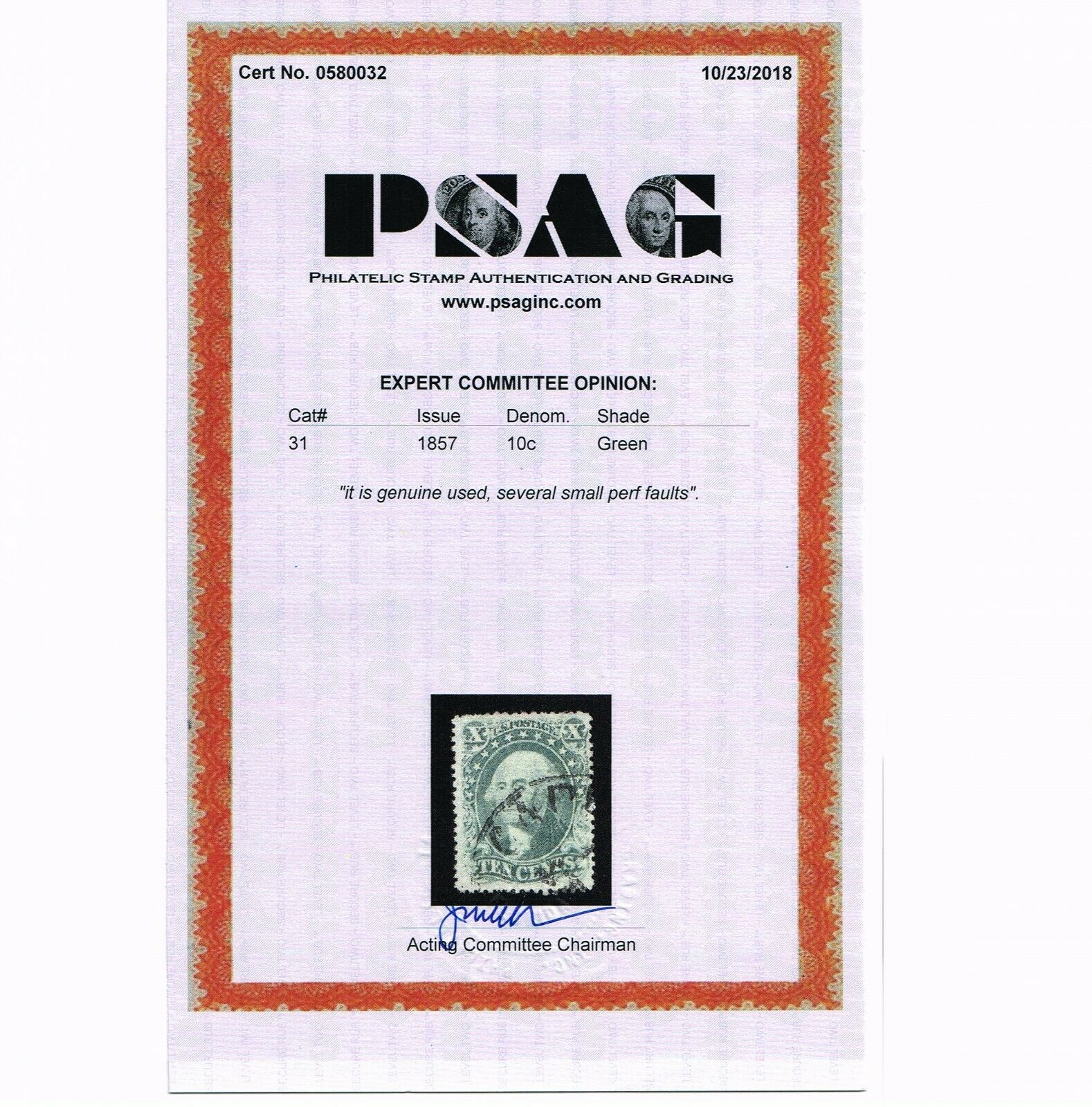 EXCEPTIONAL GENUINE SCOTT #31 F-VF USED PSAG CERT 1857 GREEN TYPE-I TOWN CANCEL