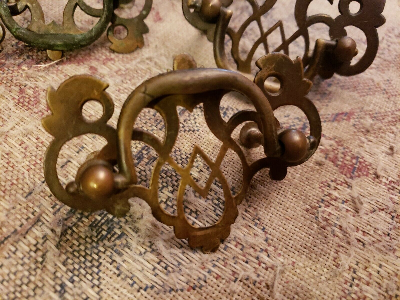 Vintage brass drawer pulls Chippendale set of 2 scroll 3.25 inch wide bail pull