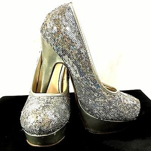 48bcf3f18b0 Details about Delicacy Heels Size 6.5 Lorina Silver Sequined Stiletto  Platform High Womens