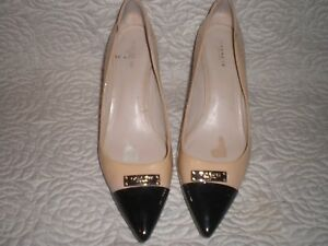 16c80cfd81 Image is loading Coach-Black-Nude-Leather-Pumps-Shoes-SIZE-11-