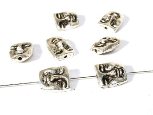 Maske 12x10mm Silber 2 Stück #U32 Metallperlen Anhänger